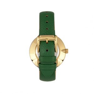 Bertha Frances Marble Dial Leather-Band Watch - Green - BTHBR6403