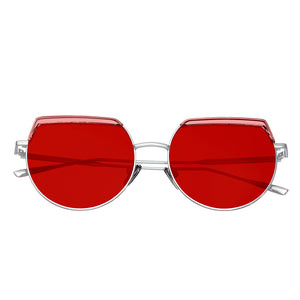 Bertha Callie Polarized Sunglasses - Silver/Red - BRSBR032RD