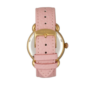 Bertha Estella MOP Leather-Band Ladies Watch - Gold/Pink - BTHBR5104