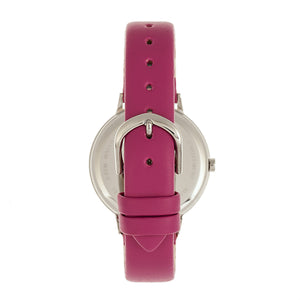 Bertha Delilah Leather-Band Watch - Silver/Fuchsia - BTHBR8603