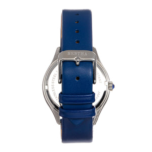 Bertha Georgiana Mother-Of-Pearl Leather-Band Watch - Silver/Blue - BTHBS1102