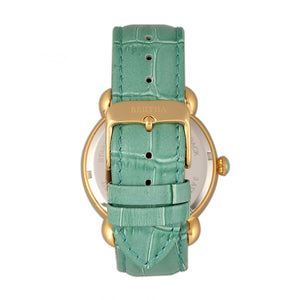 Bertha Ashley MOP Leather-Band Ladies Watch - Gold/Teal - BTHBR3003