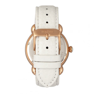 Bertha Vivica MOP Leather-Band Ladies Watch - Rose Gold/White - BTHBR3703