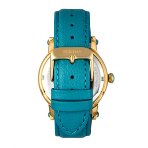 Bertha Morgan MOP Leather-Band Ladies Watch - Gold/Turquoise - BTHBR4203