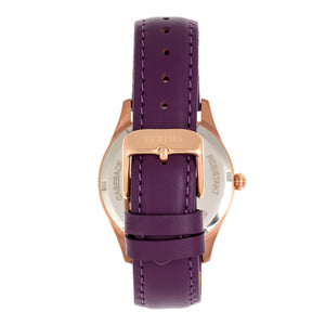 Bertha Dixie Floral Engraved Leather-Band Watch - Purple - BTHBR9905