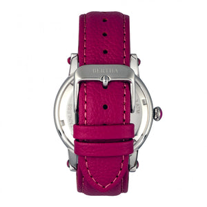 Bertha Morgan MOP Leather-Band Ladies Watch - Silver/Pink - BTHBR4201