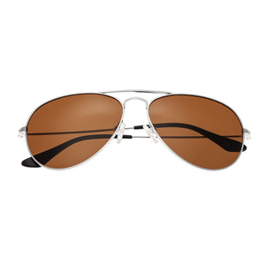 Bertha Brooke Polarized Sunglasses - Silver/Brown - BRSBR018S