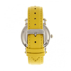 Bertha Chelsea MOP Leather-Band Ladies Watch - Silver/Yellow - BTHBR4902