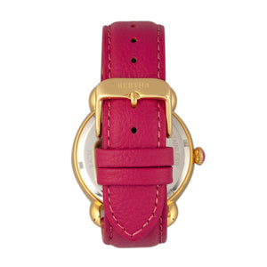 Bertha Ashley MOP Leather-Band Ladies Watch - Gold/Pink - BTHBR3006