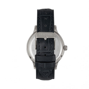 Bertha Eden Mother-Of-Pearl Leather-Band Watch w/Date - Black/Silver - BTHBR6501