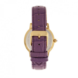 Bertha Madeline MOP Leather-Band Watch - Plum - BTHBR7107