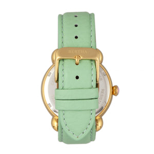 Bertha Vivica MOP Leather-Band Ladies Watch - Gold/Mint - BTHBR3702