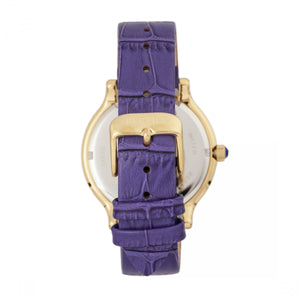 Bertha Cora Crystal-Encrusted Leather-Band Watch - Purple - BTHBR6003