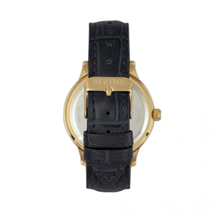 Bertha Eden Mother-Of-Pearl Leather-Band Watch w/Date - Black/Gold - BTHBR6504