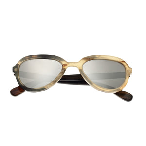 Bertha Alexa Buffalo-Horn Polarized Sunglasses - Honey-Black/Silver - BRSBR007MC