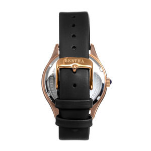 Bertha Georgiana Mother-Of-Pearl Leather-Band Watch - Rose Gold/Black - BTHBS1105