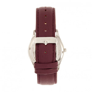 Bertha Sadie Mother-of-Pearl Leather-Band Watch - Burgundy - BTHBR8401
