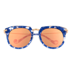 Bertha Aaliyah Polarized Sunglasses - Blue Tortoise/Rose Gold - BRSBR023RG