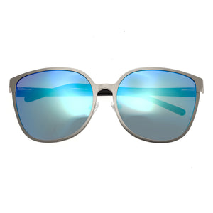 Bertha Ophelia Polarized Sunglasses - Silver/Blue-Green - BRSBR019S