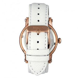 Bertha Morgan MOP Leather-Band Ladies Watch - Rose Gold/White - BTHBR4204