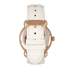 Bertha Ashley MOP Leather-Band Ladies Watch - Rose Gold/White - BTHBR3004