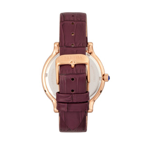 Bertha Cora Crystal-Encrusted Leather-Band Watch - Plum - BTHBR6005