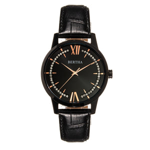 Bertha Prudence Leather-Band Watch - Black - BTHBS1405