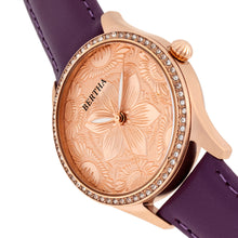 Load image into Gallery viewer, Bertha Dixie Floral Engraved Leather-Band Watch - Purple - BTHBR9905