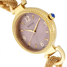 Load image into Gallery viewer, Bertha Sarah Chain-Link Watch w/Hanging Charm - Gold/Mauve - BTHBR8904