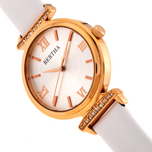 Bertha Jasmine Leather-Band Watch - White - BTHBR9605