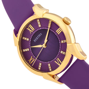 Bertha Ida Mother-of-Pearl Leather-Band Watch - Purple - BTHBS1204