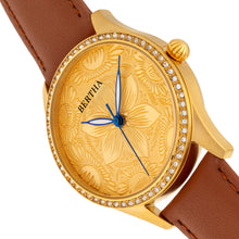 Load image into Gallery viewer, Bertha Dixie Floral Engraved Leather-Band Watch - Brown - BTHBR9903
