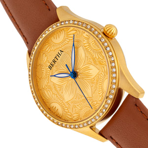 Bertha Dixie Floral Engraved Leather-Band Watch - Brown - BTHBR9903