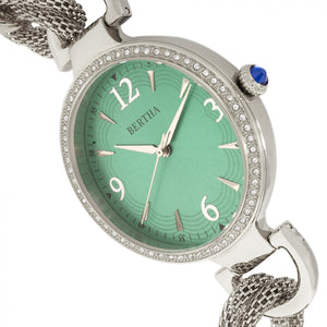 Bertha Sarah Chain-Link Watch w/Hanging Charm - Silver/Emerald - BTHBR8902