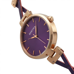 Bertha Amanda Criss-Cross Leather-Band Watch - Rose Gold/Purple - BTHBR7606