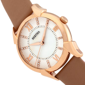 Bertha Ida Mother-of-Pearl Leather-Band Watch - Beige - BTHBS1205