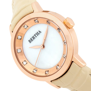 Bertha Cecelia Leather-Band Watch - Cream  - BTHBR7504