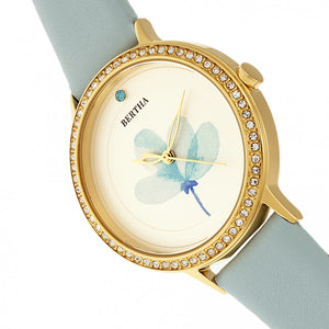 Bertha Delilah Leather-Band Watch - Gold/Light Blue - BTHBR8604