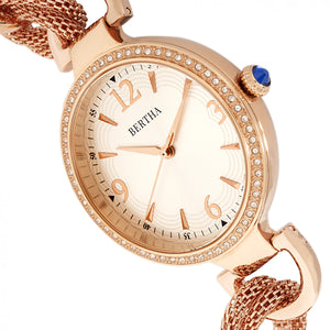 Bertha Sarah Chain-Link Watch w/Hanging Charm - Rose Gold/Silver - BTHBR8906