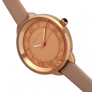 Bertha Madison Sunray Dial Leather-Band Watch - Light Pink/Rose Gold - BTHBR6706