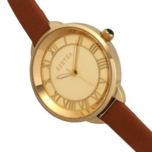 Bertha Madison Sunray Dial Leather-Band Watch - Camel/Gold - BTHBR6705