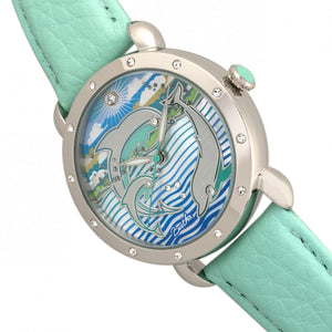 Bertha Estella MOP Leather-Band Ladies Watch - Silver/Turquoise - BTHBR5101