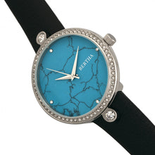 Load image into Gallery viewer, Bertha Frances Marble Dial Leather-Band Watch - Black/Cerulean - BTHBR6402