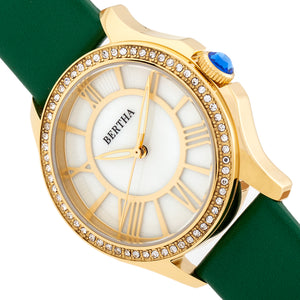 Bertha Donna Mother-of-Pearl Leather-Band Watch - Green - BTHBR9803