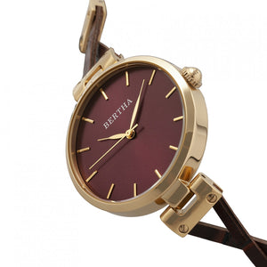 Bertha Amanda Criss-Cross Leather-Band Watch - Gold/Burgandy - BTHBR7604