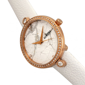 Bertha Frances Marble Dial Leather-Band Watch - White - BTHBR6404
