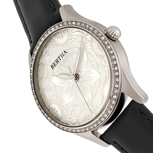 Bertha Dixie Floral Engraved Leather-Band Watch - Black - BTHBR9901