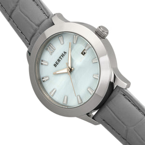 Bertha Eden Mother-Of-Pearl Leather-Band Watch w/Date - Grey/Silver - BTHBR6502