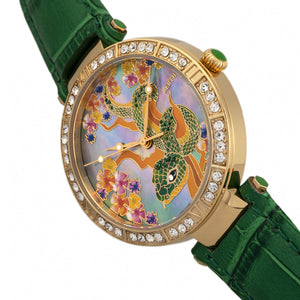 Bertha Mia Mother-Of-Pearl Leather-Band Watch - Green - BTHBR7403