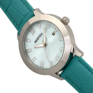 Bertha Eden Mother-Of-Pearl Leather-Band Watch w/Date - Turquoise/Silver - BTHBR6503